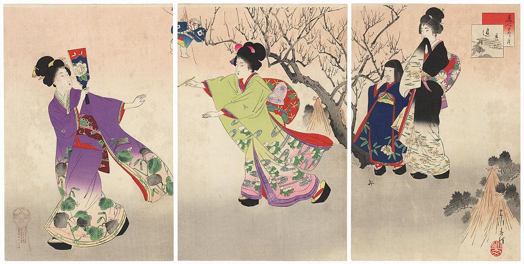 """""""January"""" by Miyagawa Shuntei (1873 - 1914)"""