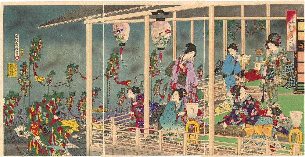 """""""Tanabata Festival"""". Toyohara Chikanobu 豊原周延 (1838–1912)"""