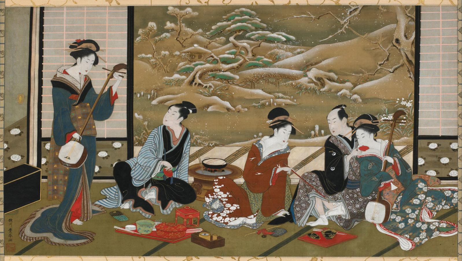 «A Winter Party», colour on silk. Utagawa Toyoharu (歌川 豊春, c.1735-1814)