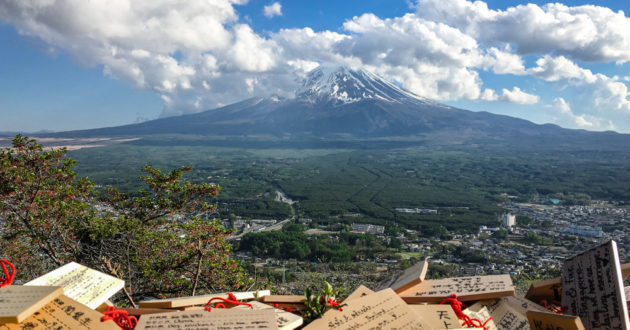 Wishes and prayers overlooking Mt Fuji